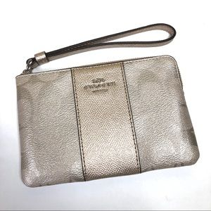 Coach Signature Print Metallic Zip Wristlet